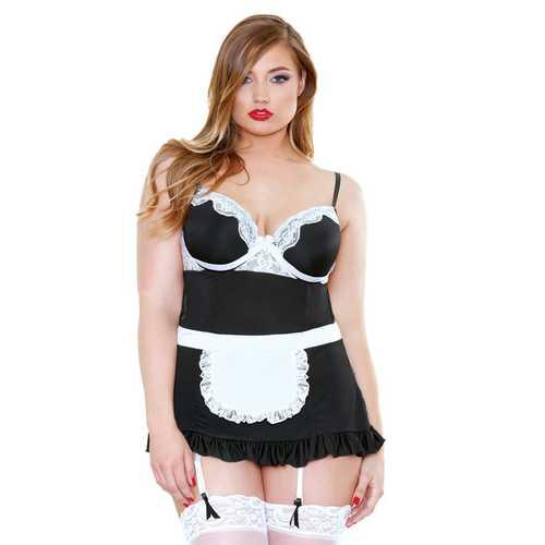 NIGHT SERVICE MAID APRON DRESS & PANTY BLACK & WHITE 1X2X (OUT BEG DEC)