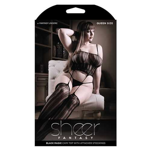 SHEER FANTASY BLACK MAGIC CAMI TOP W/ ATTACHED STOCKINGS BLACK QUEEN