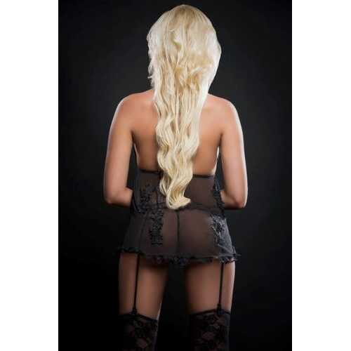 3PC SENSUAL SHEER BABYDOLL OPEN FRONT EMBROIDERY APPLIQUE BLACKOUT