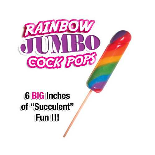 JUMBO RAINBOW COCK POPS 6PC DISPLAY