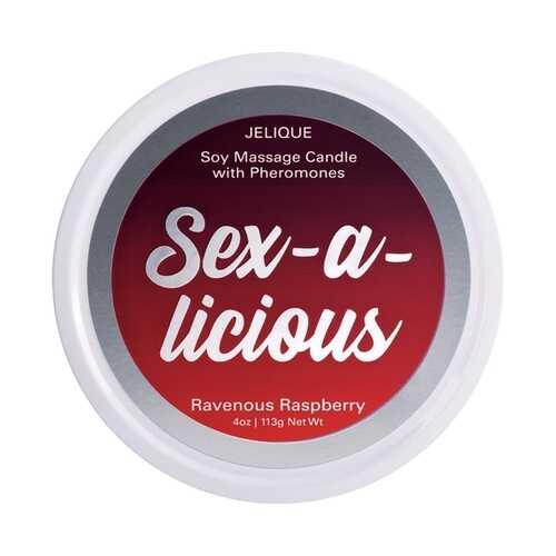 MASSAGE CANDLE W/ PHEROMONES SEX-A-LICIOUS RAVENOUS RASPBERRY 4OZ