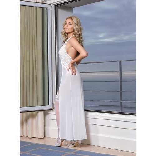 (WD) KEYHOLE GOWN & GSTRING WH WHITE 2XL