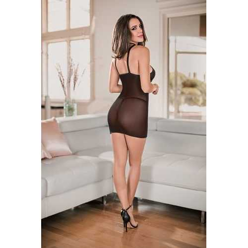(D) CHEMISE & G-STRING MEDIUM BLACK