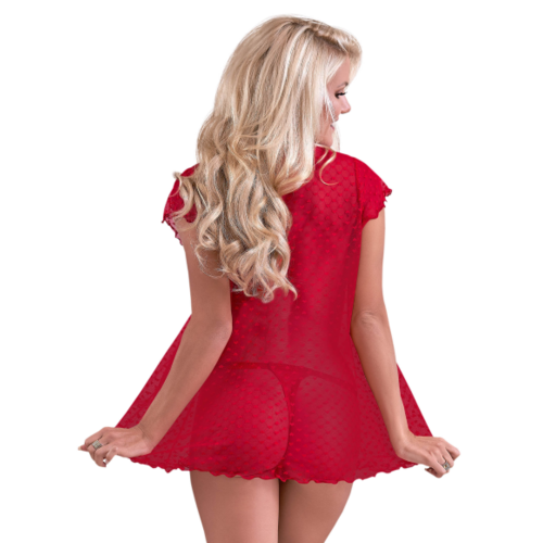 VALENTINA FLY-AWAY BED JACKET & THONG SET RED LARGE