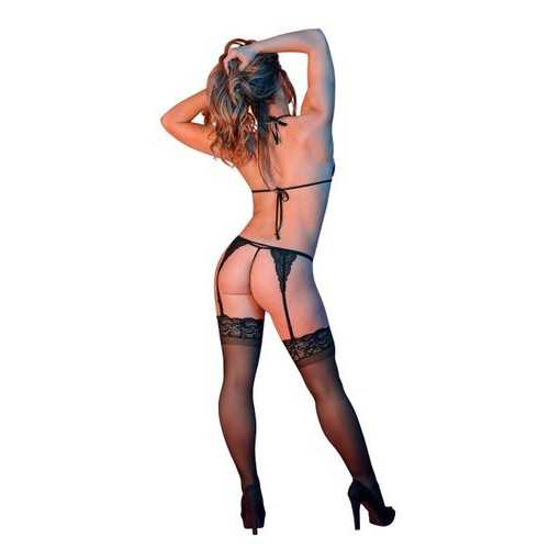 SEXY TIME PEEK-A-BOO BRA GARTER & G-SET BLACK S/M