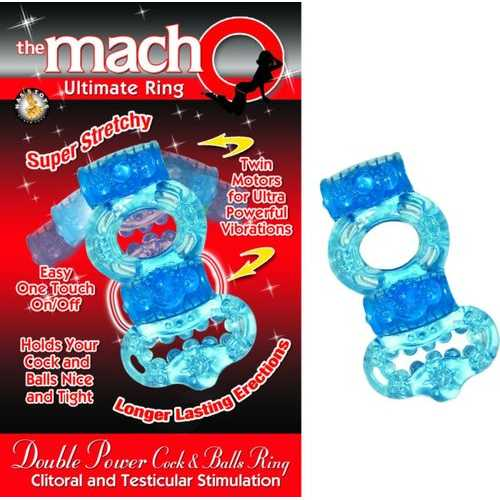 MACHO DOUBLE POWER COCK & BALL RING BLUE