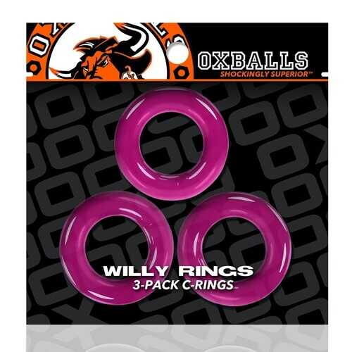 WILLY RINGS 3 PK COCKRINGS HOT PINK (NET)