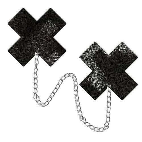 PASTEASE CHAINS LIQUID BLACK X CROSS W/ CHUNKY SILVER CHAIN NIPPLE PASTIES