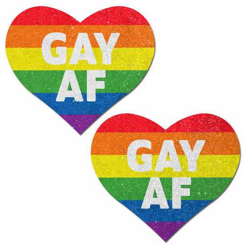 PASTEASE GLITTER RAINBOW GAY AF HEARTS