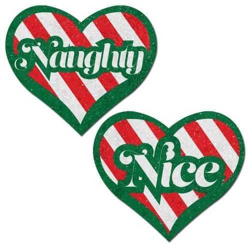 PASTEASE NAUGHTY & NICE HEART GREEN RED & WHITE VELVET
