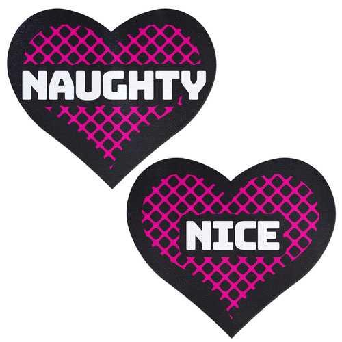 PASTEASE NAUGHTY & NICE HEART BLACK & PINK