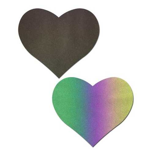 PASTEASE REFLECTIVE RAINBOW HEART NIPPLE PASTIES