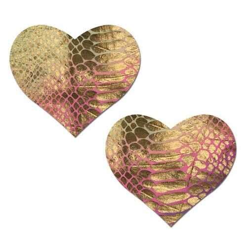 PASTEASE LOVE GOLD HOLOGRAPHIC SNAKE PRINT PASTEL TIE DYE HEART NIPPLE PASTIES