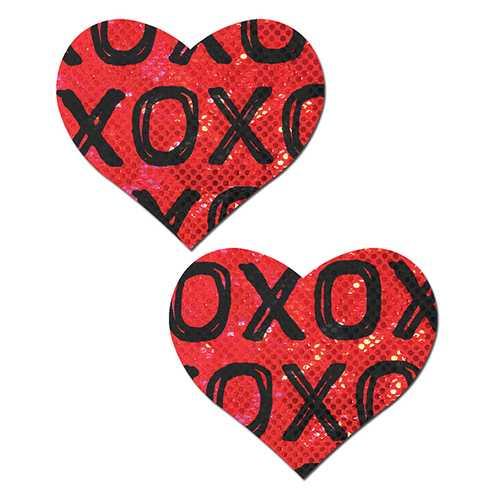 PASTEASE SHATTERED GLASS DISCO BALL RED W/ BLACK XO HEART