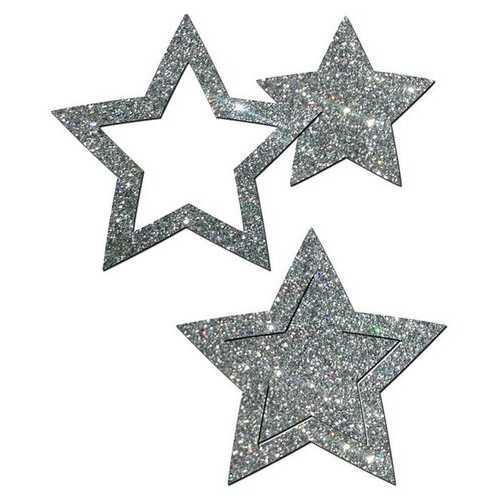 PASTEASE GLITTER PEEK A BOOB STARS SILVER