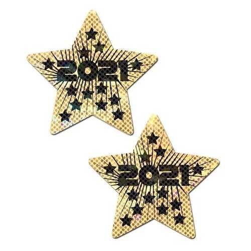 (WD) PASTEASE HAPPY NEW YEARS LIQUID GOLD & BLACK STAR NIPPLE PASTIES