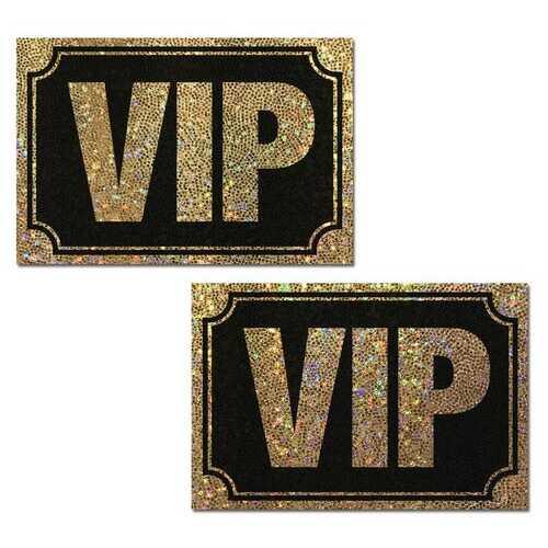 PASTEASE VIP GOLD GLITTER ON LIQUID BLACK NIPPLE PASTIES