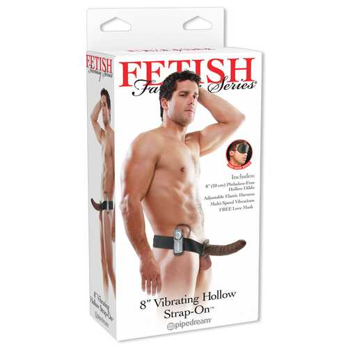 FETISH FANTASY 8IN HOLLOW STRAP ON BROWN VIBRATING