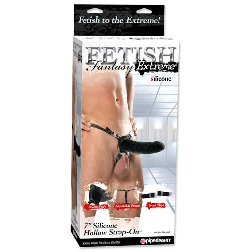 FETISH FANTASY EXTREME 7IN SILICONE HOLLOW STRAP ON BLA