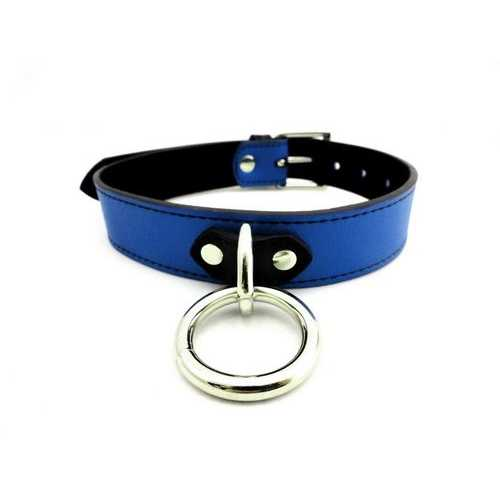 COLLAR LEATHER D RING BLUE