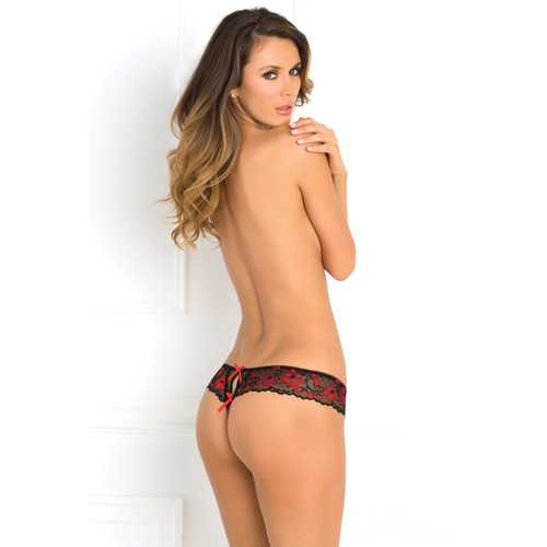 CROTCHLESS LACE THONG W/ BOWS RED M/L