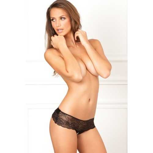 CROTCHLESS LACE THONG W/BOW BLACK S/M (NET)