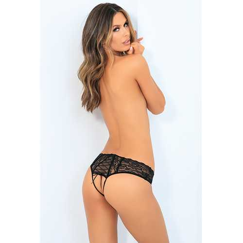 ALL TIED UP OPEN BACK PANTY BLACK S/M