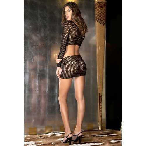 QUARTER CROCHET BODYSTOCKING BLACK O/S (NET)