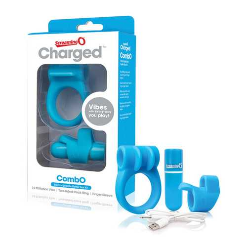 SCREAMING O CHARGED COMBO #1 W/C RING & FINGER SLEEVE BLUE