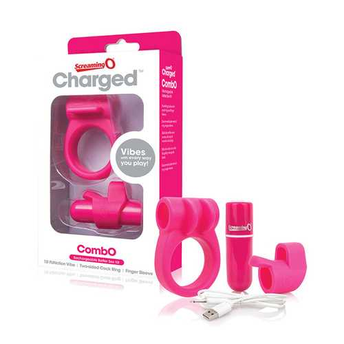 SCREAMING O CHARGED COMBO #1 W/C RING & FINGER SLEEVE PINK