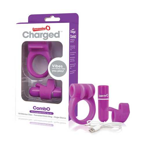 SCREAMING O CHARGED COMBO #1 W/C RING & FINGER SLEEVE PURPLE