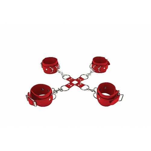LEATHER HAND & LEGCUFFS RED