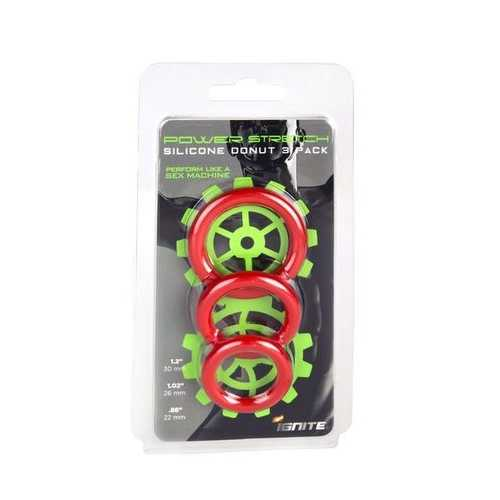 SILICONE STRETCHY RINGS RED 3 PACK
