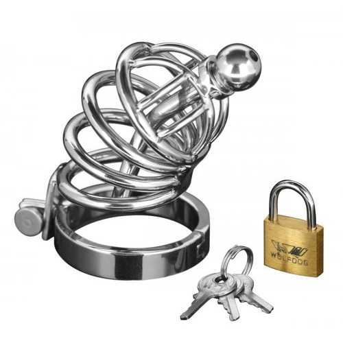 MASTER SERIES 4 RING CHASTITY CAGE W/URETHAL PLUG S/M (OUT END NOV)