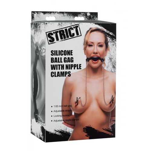 STRICT SILICONE BALL GAG W/NIPPLE CLAMPS