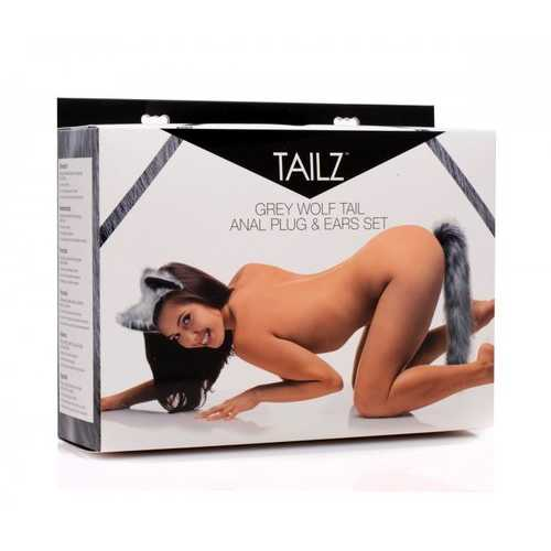 TAILZ GREY WOLF TAIL & EARS SET