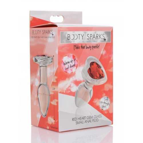 BOOTY SPARKS RED HEART GLASS ANAL PLUG SMALL