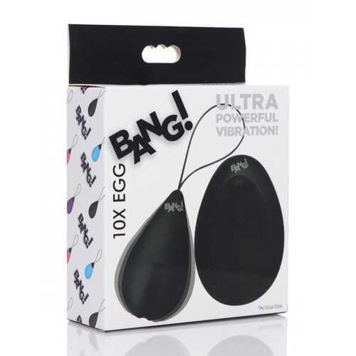 BANG! 10X VIBRATING SILICONE EGG W/ REMOTE BLACK