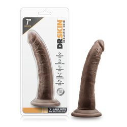 """DR SKIN 7 COCK W SUCTION CUP CHOCOLATE """""""