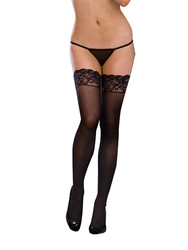 LACE TOP THIGH HIGH BLACK O/S