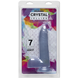 (D) CRYSTAL JELLIES SLIM COCK BALLS 7 IN CLEAR