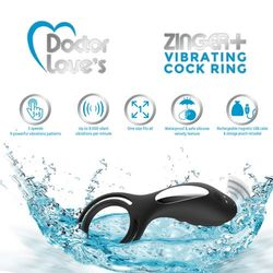 DOCTOR LOVE ZINGER+ VIBRATING RECHARGEABLE COCK RING W/ REMOTE BLACK