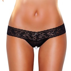 CROTCHLESS PANTIES W/PEARL BEADS BLK ML