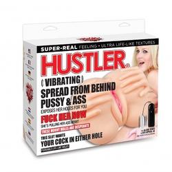 HUSTLER VIBRATING SPREAD FROM BEHIND PUSSY & ASS STROKER