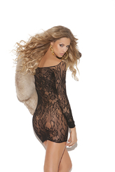 LONG SLEEVE LACE MINI DRESS BLACK O/S (Out Mid July)