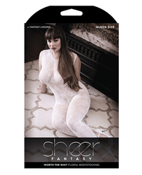 SHEER FANTASY FLORAL BODYSTOCKING LACE EDGE QUEEN WHITE