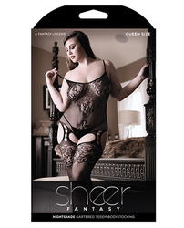GARTERED TEDDY BODYSTOCKING BLACK QUEEN SIZE