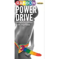 "RAINBOW POWER DRIVE 7 STRAP ON DILDO W/HARNESS SILICONE """