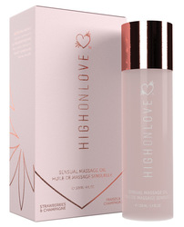 HIGH ON LOVE MASSAGE OIL STRAWBERRIES & CHAMPAGNE (NET)