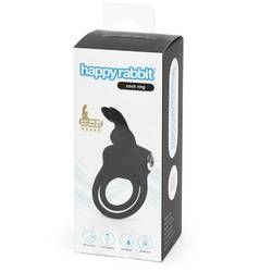 HAPPY RABBIT STIMULATING USB RECHARGEABLE COCK RING BLACK